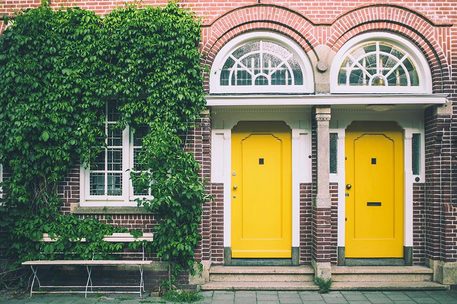 two yellow doors